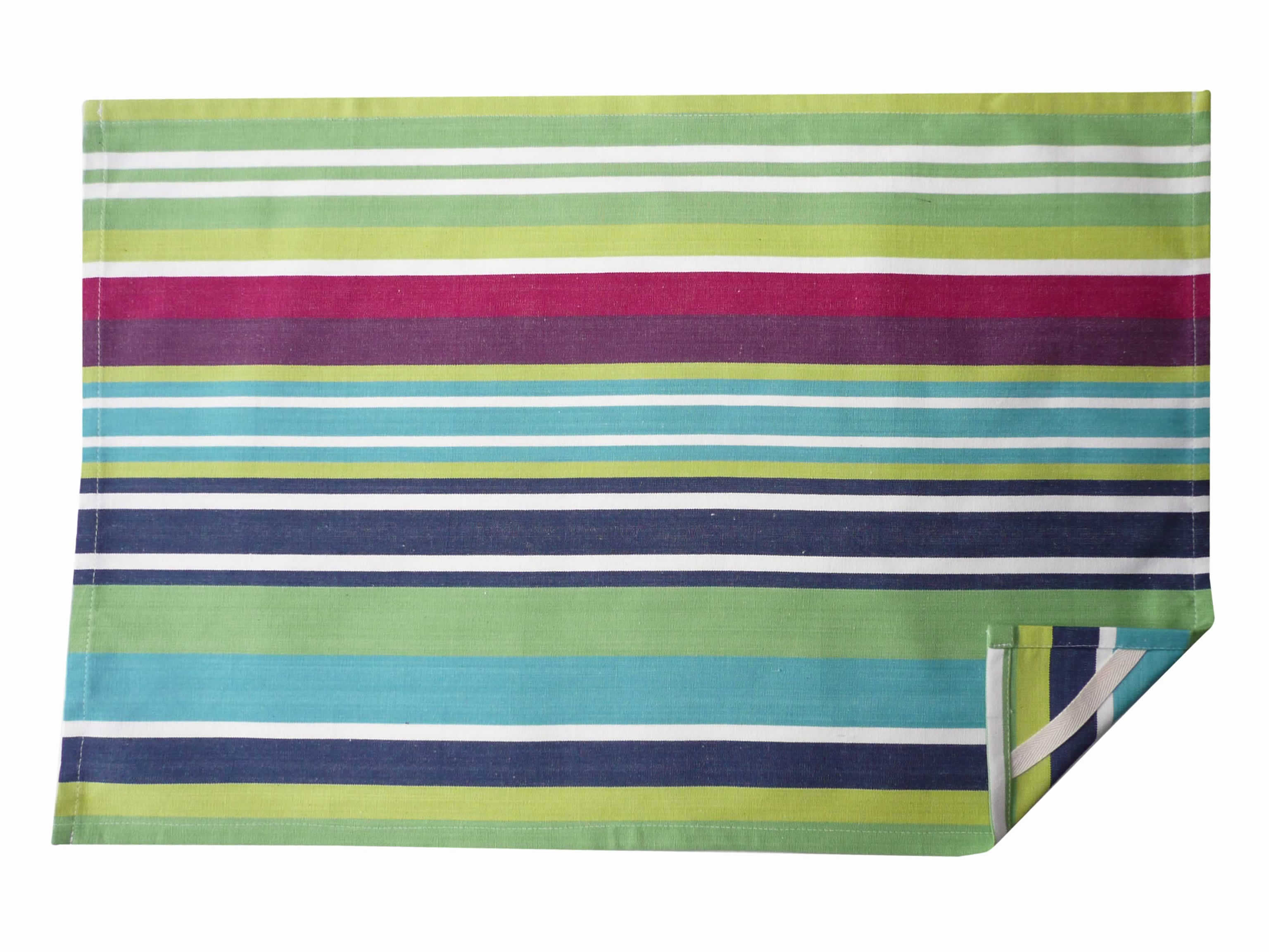 Navy Blue Striped Tea Towels  - Tug O War Stripe