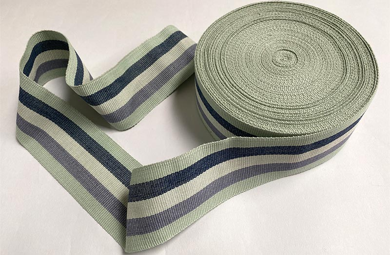 Striped Webbing Pale mint green, denim, cream