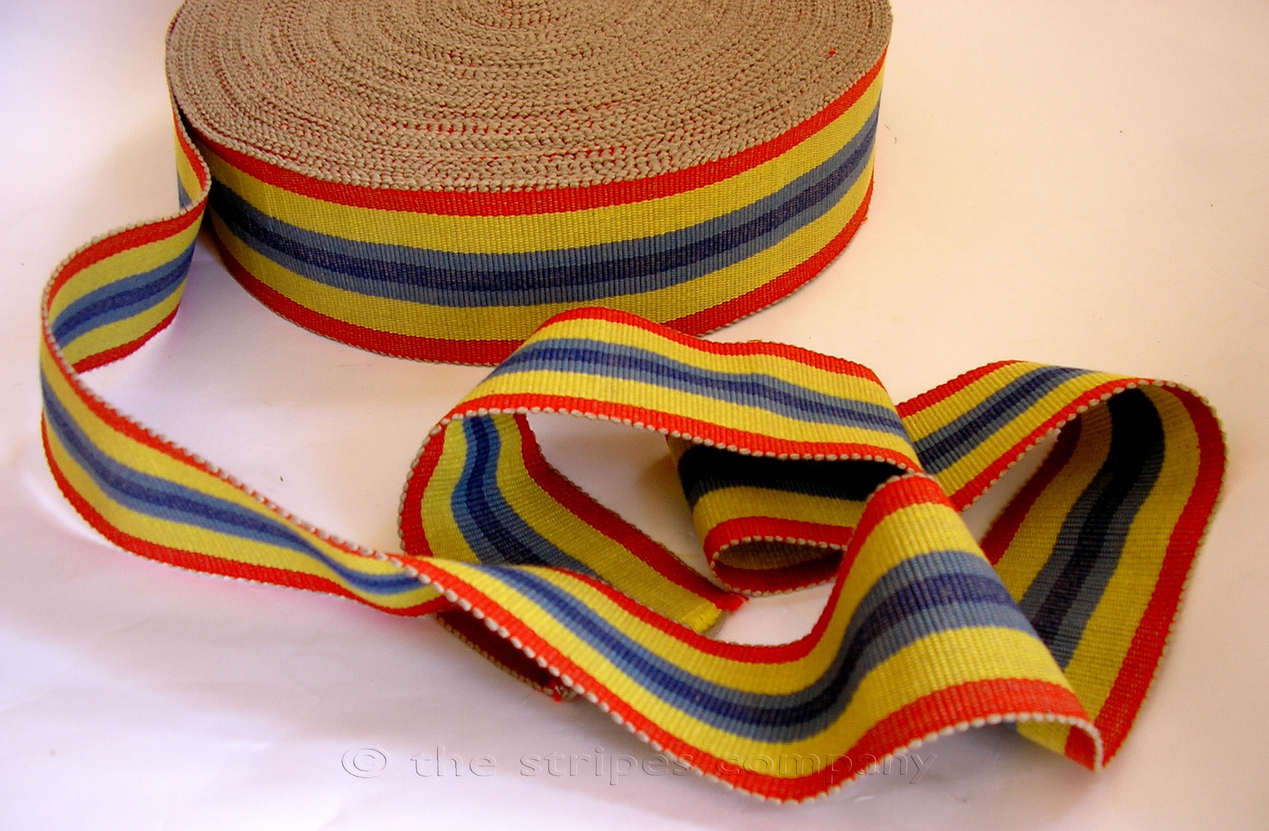 red, blue, yellow - Striped Webbing | Upholstery Webbing