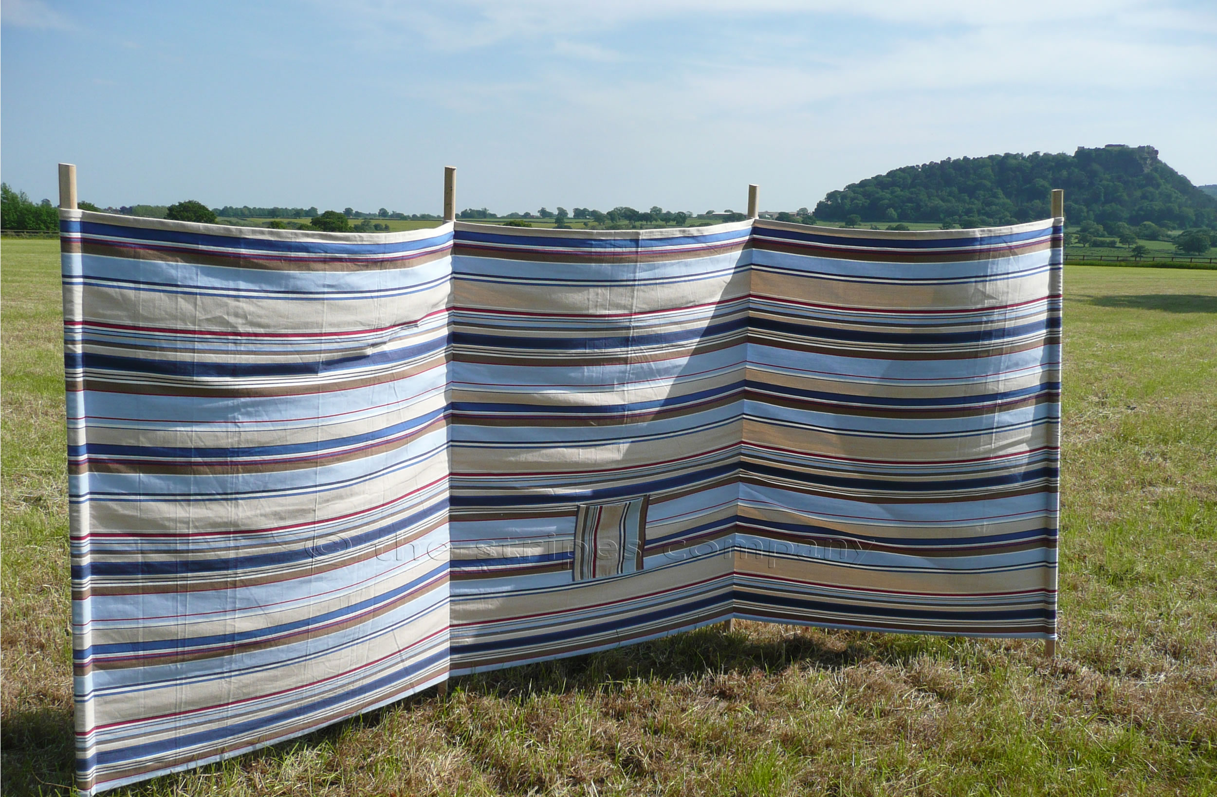 Striped Windbreaks pale blue, light grey, royal blue  stripes