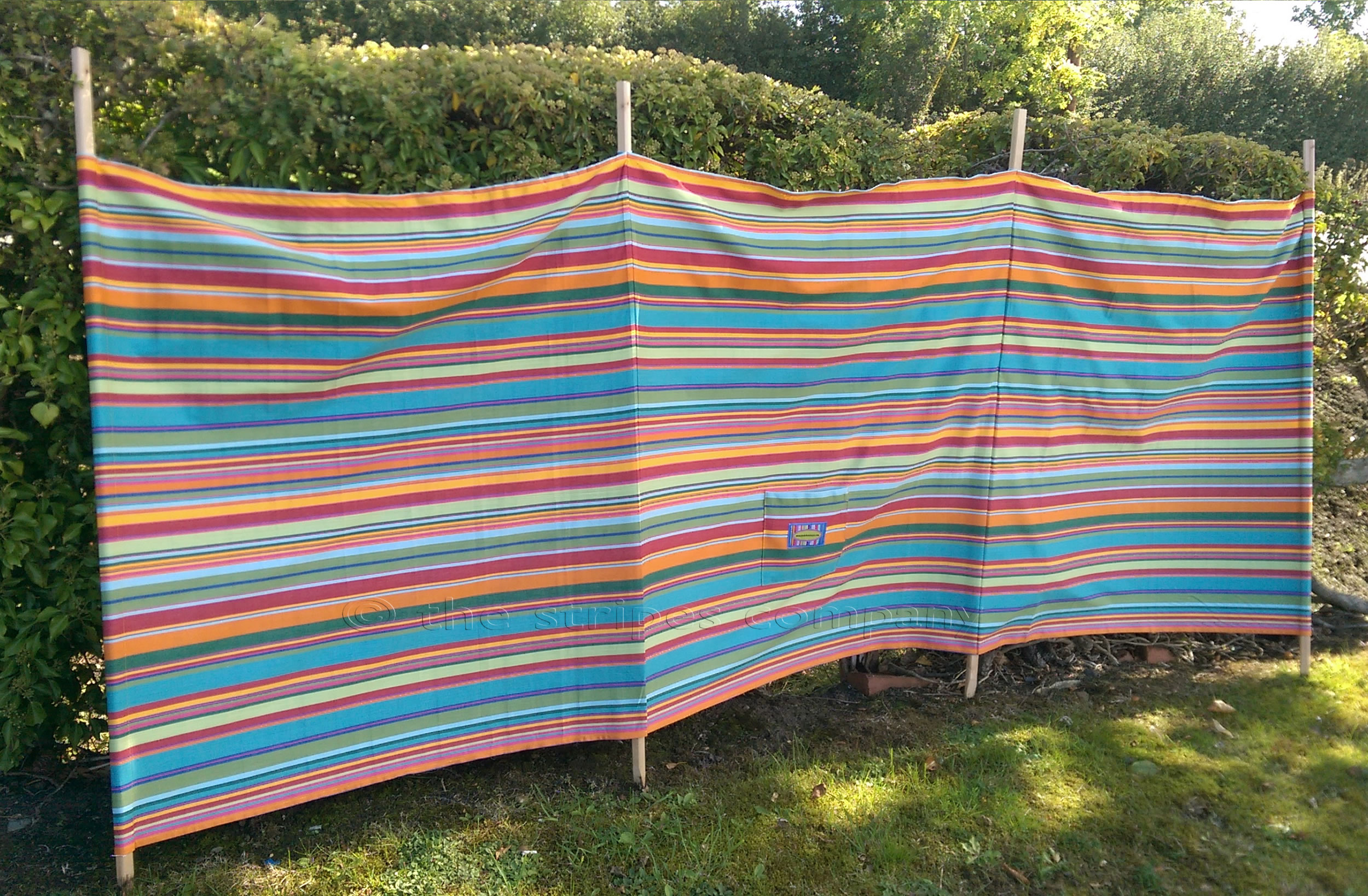 Bottle Green Striped Windbreaks with 4 poles  Bowling Stripes