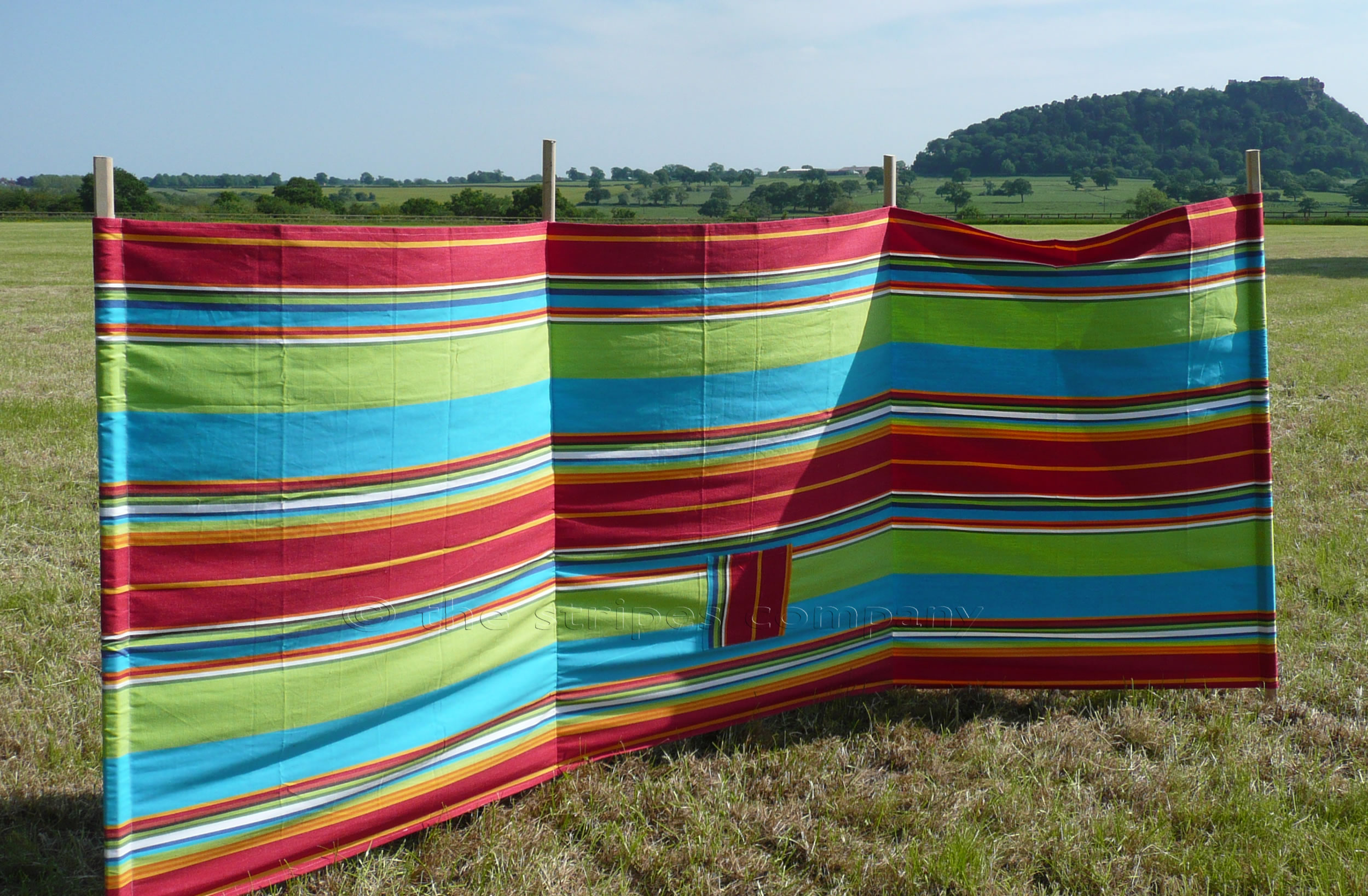 Striped Windbreaks with 4 poles Red, Lime, Turquoise Stripes