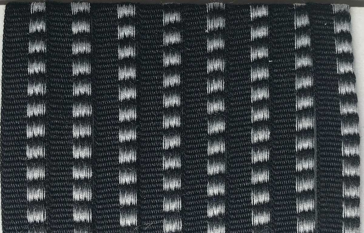 black, white- Striped Woven Cotton Flat Piping