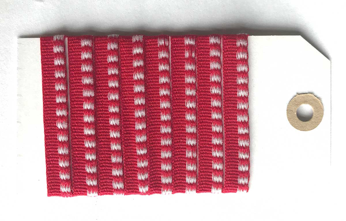 Red Striped Woven Cotton Flat Piping