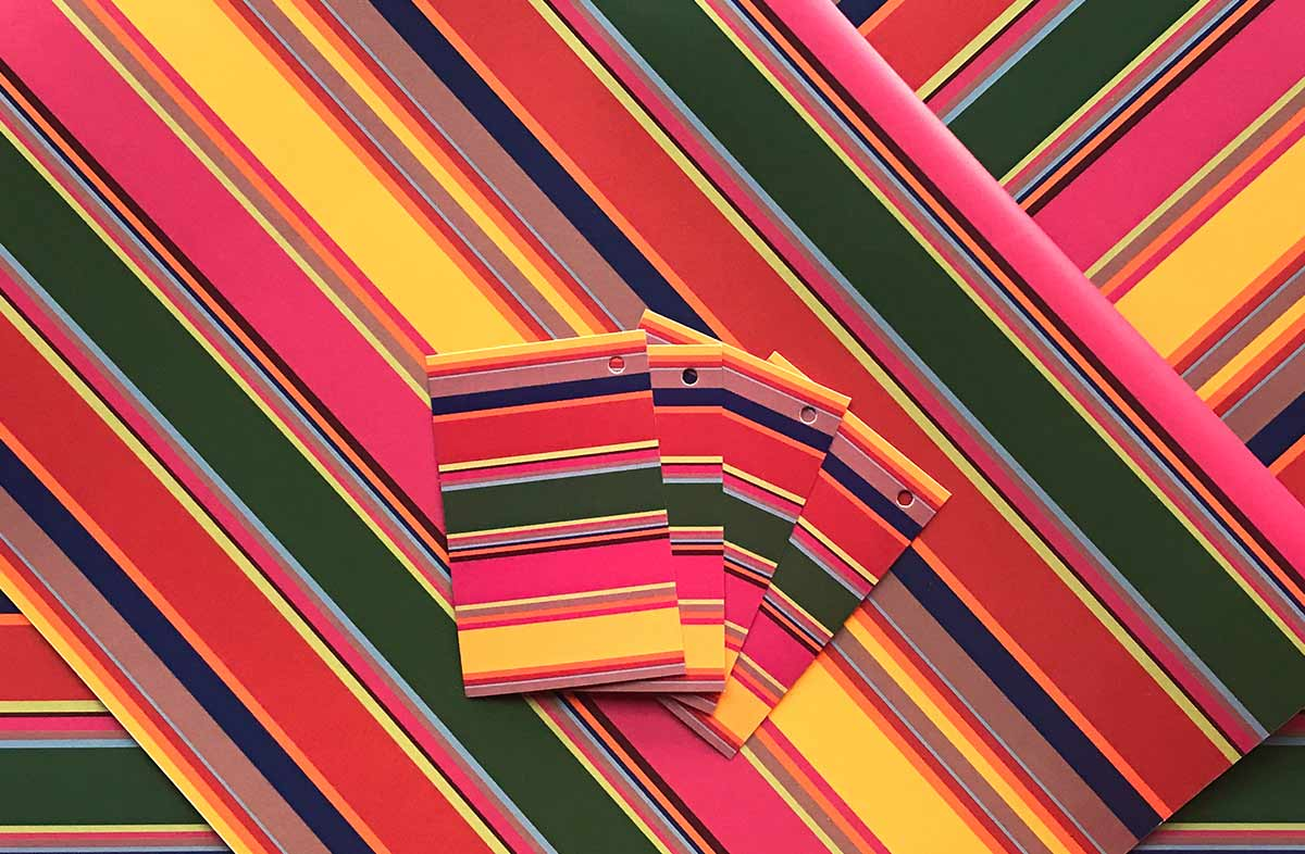 Holiday Colours Striped Wrapping Paper