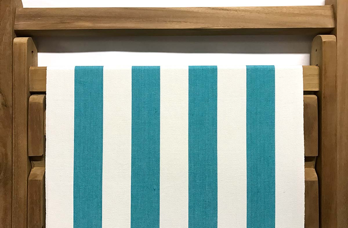 turquoise, white- Classic Striped Deckchair Canvas Fabric - Thick Weave