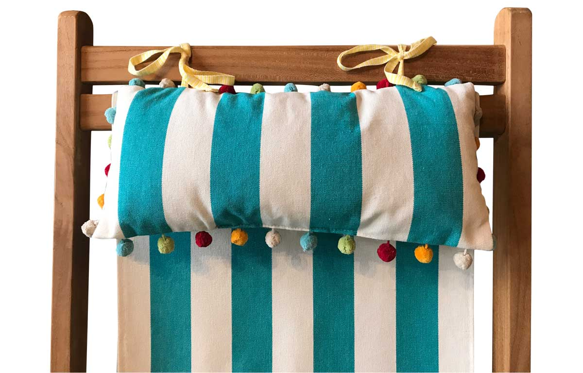 Turquoise and White Stripe Deckchair Headrest Cushions | Tie on Pompom Headrest Pillow