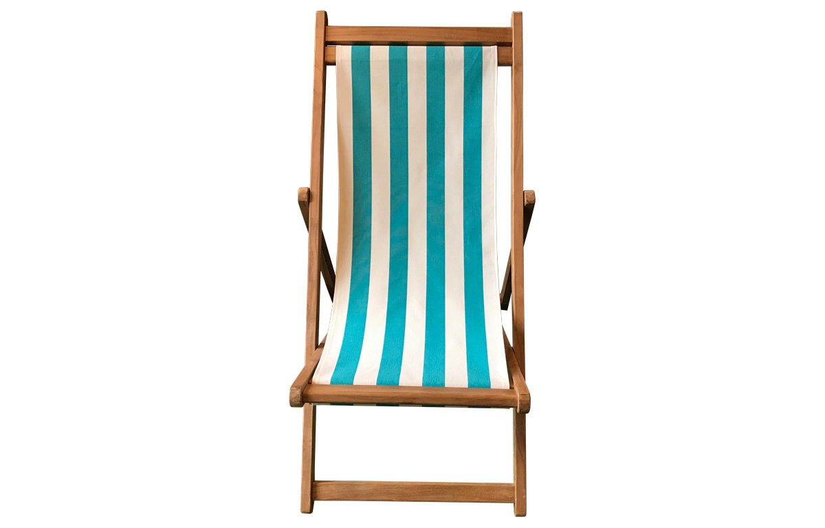 Turquoise and White Striped Deck Chairs