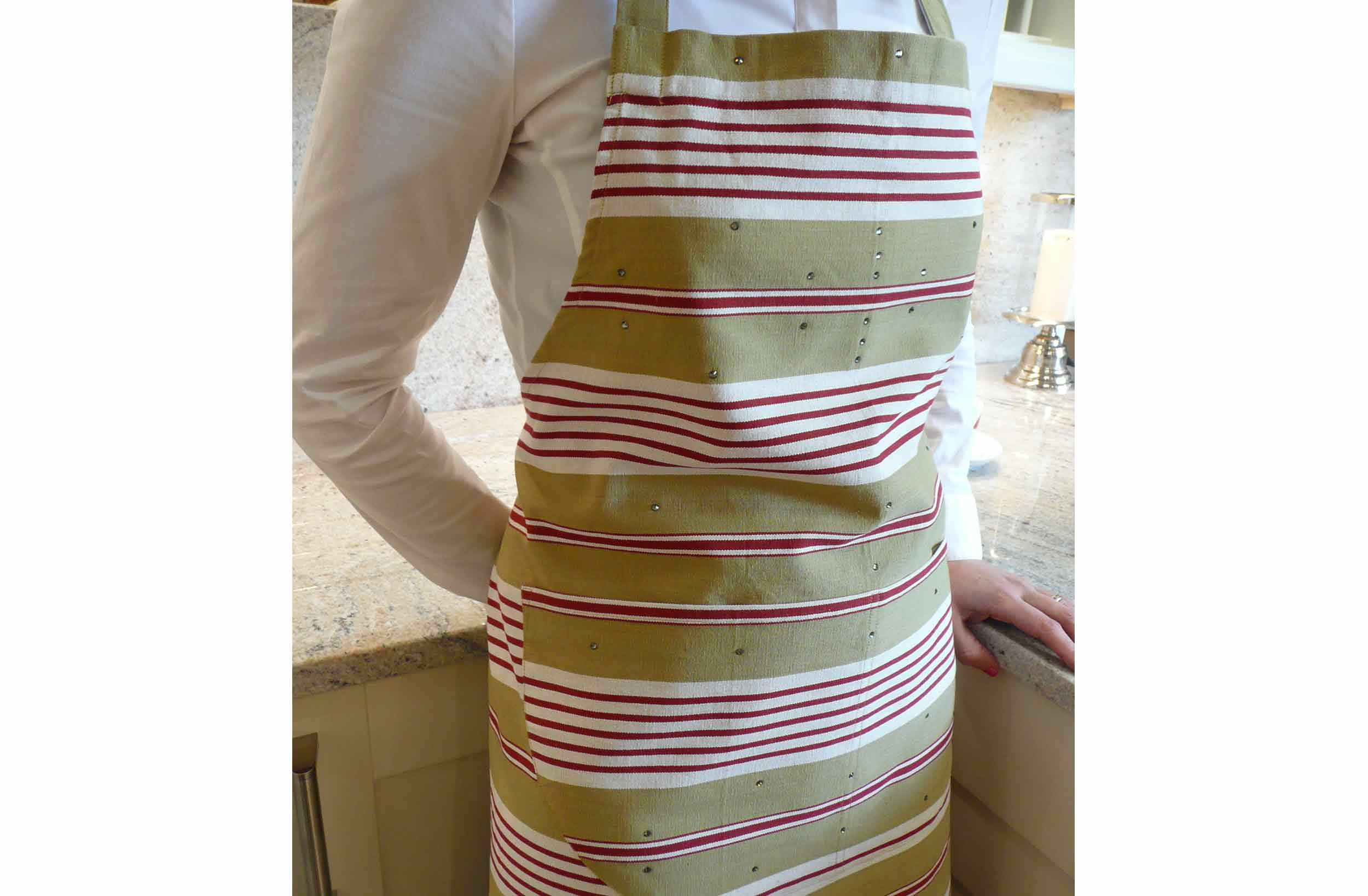 olive, red, white- Swarovski Crystal Aprons