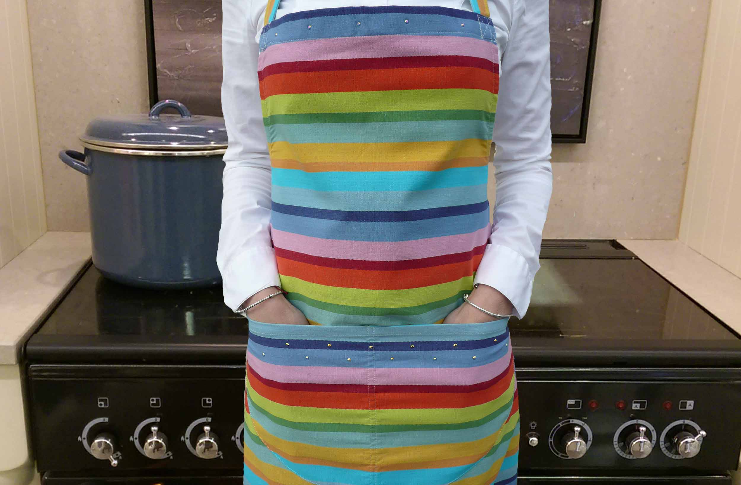 Swarovski Crystal embellished Aprons - Orange, pink, turquoise stripe