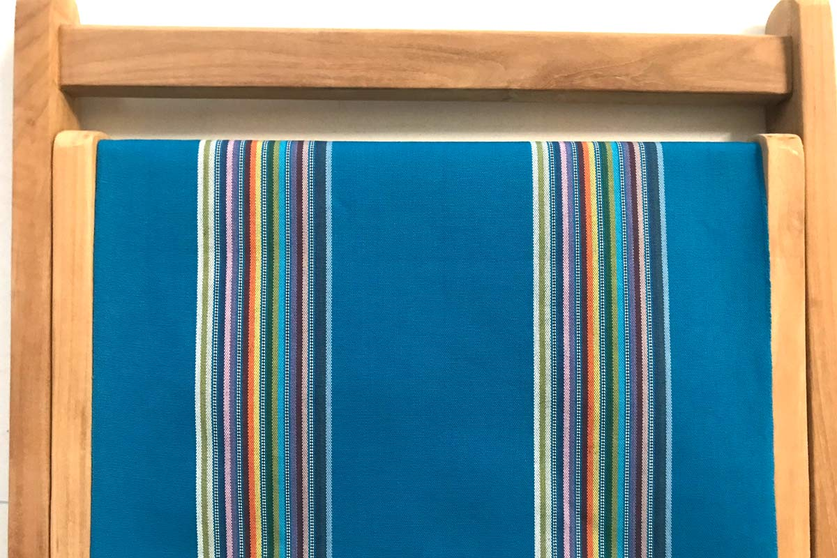 dark turquoise, rainbow- Classic Striped Deckchair Canvas Fabric - Thick Weave