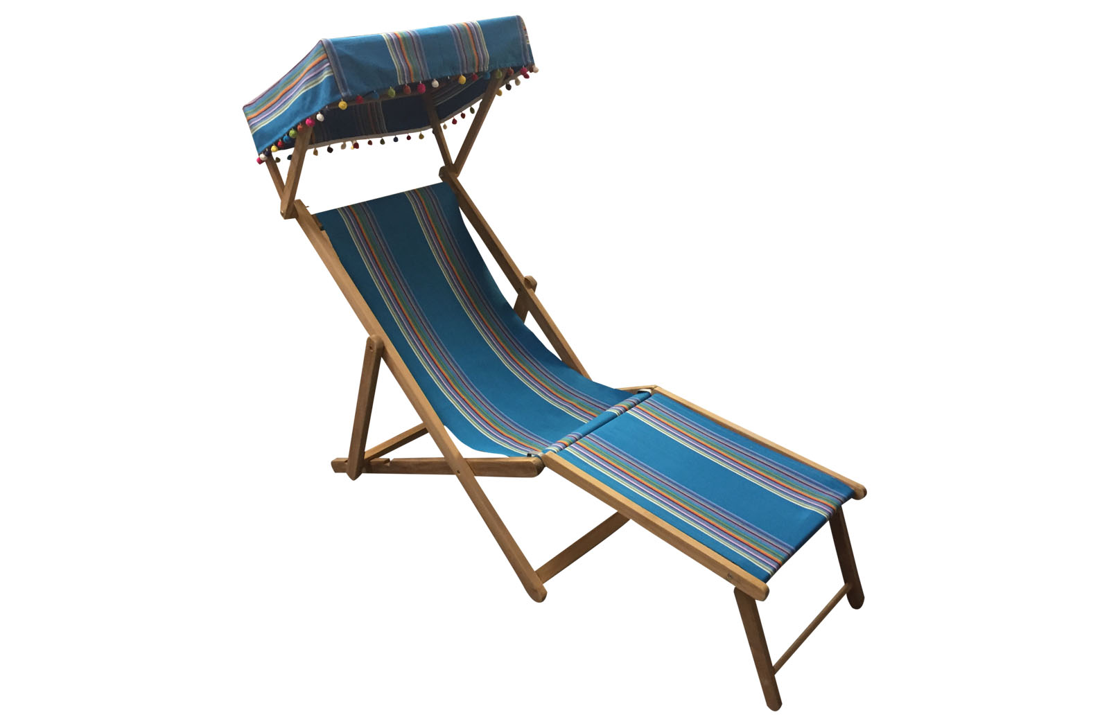 Edwardian Deckchairs with Canopy and Footstool dark turquoise, rainbow