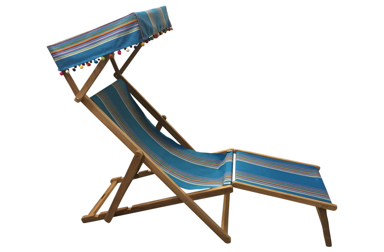 dark turquoise, rainbow- Edwardian Deckchairs with Canopy and Footstool