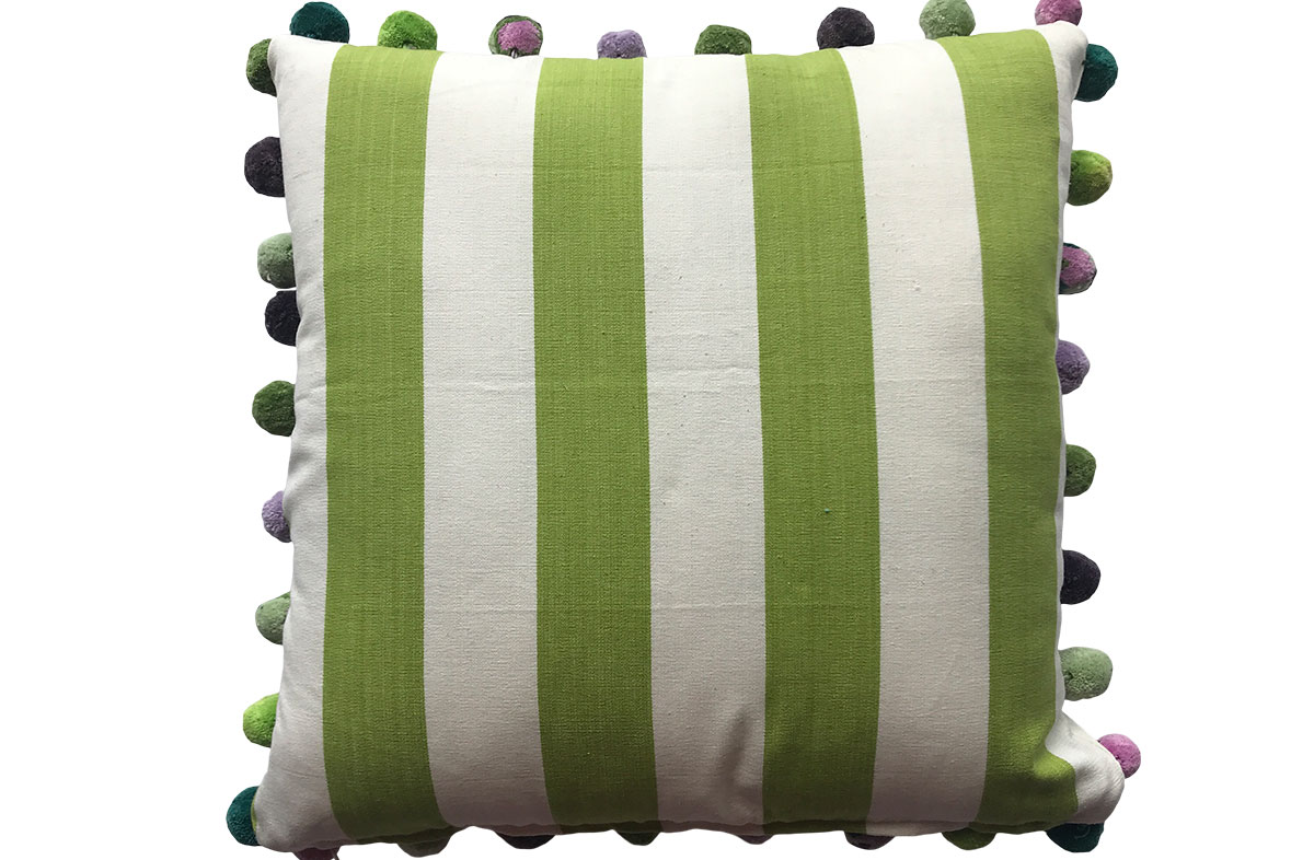 50x50cm Lime Green and White Striped Pompom Cushions