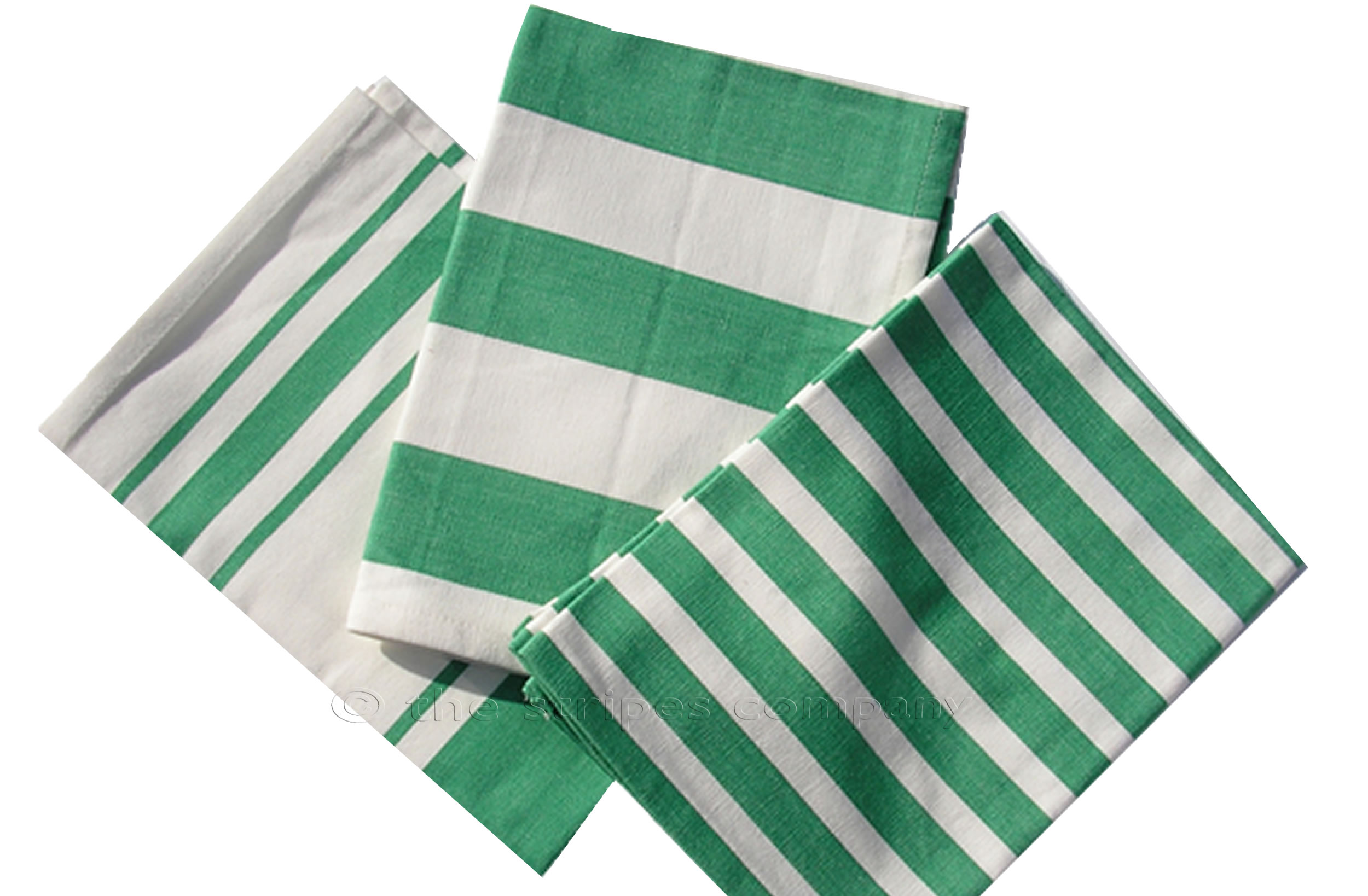 Green and white striped tea towels | Set of 3 Teatowels Green and White Stripes