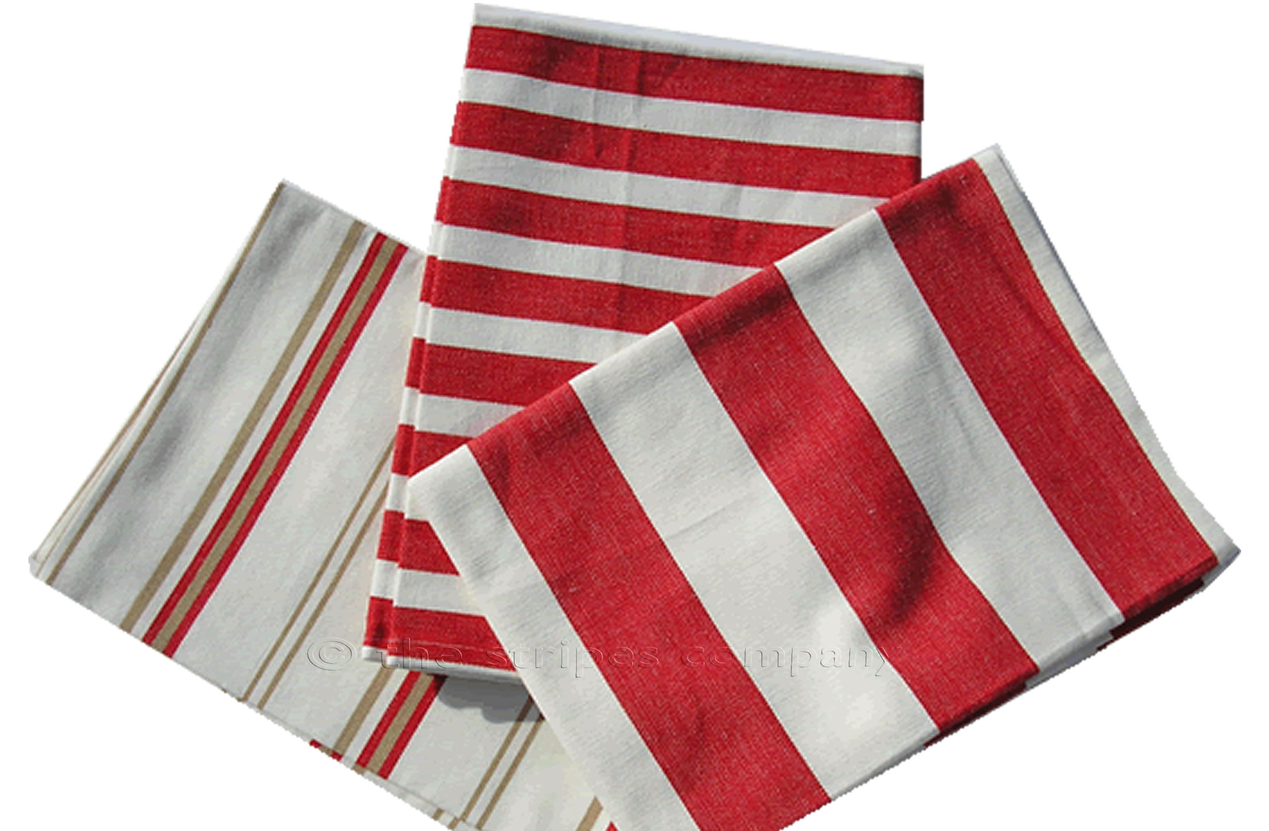 Red And White Striped Tea Towels Set Of 3