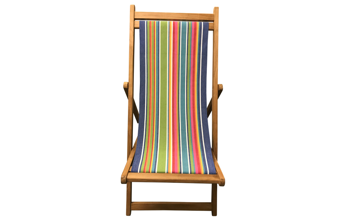 Teak Deck Chairs blue, green, red stripes