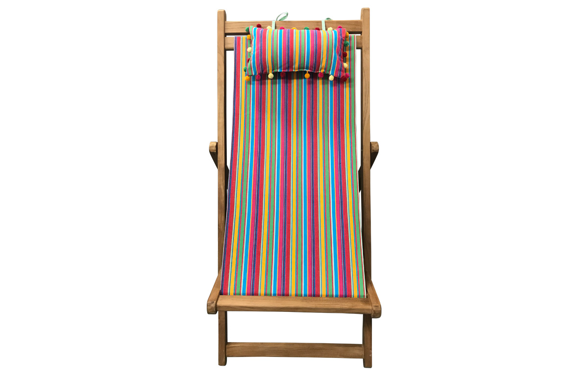 Karting Pink Teak Deckchair with Headrest and Pockets
