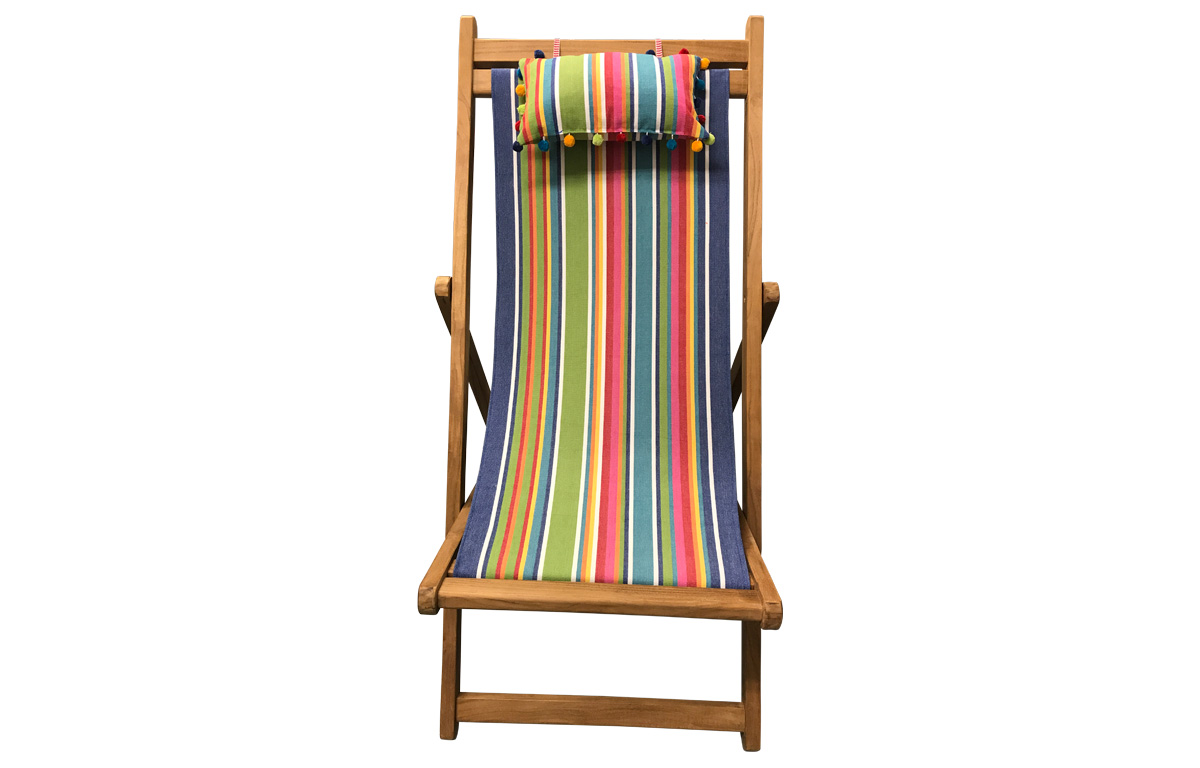 blue, green, red - Teak Deckchair with Headrest and Pockets