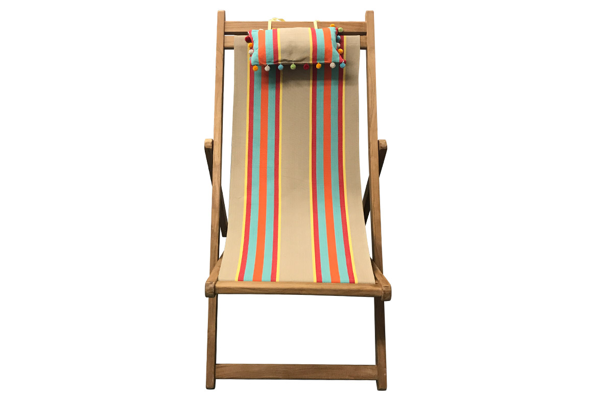 Sand, Terracotta, Turquoise Stripe Teak Deckchair with Headrest and Pockets