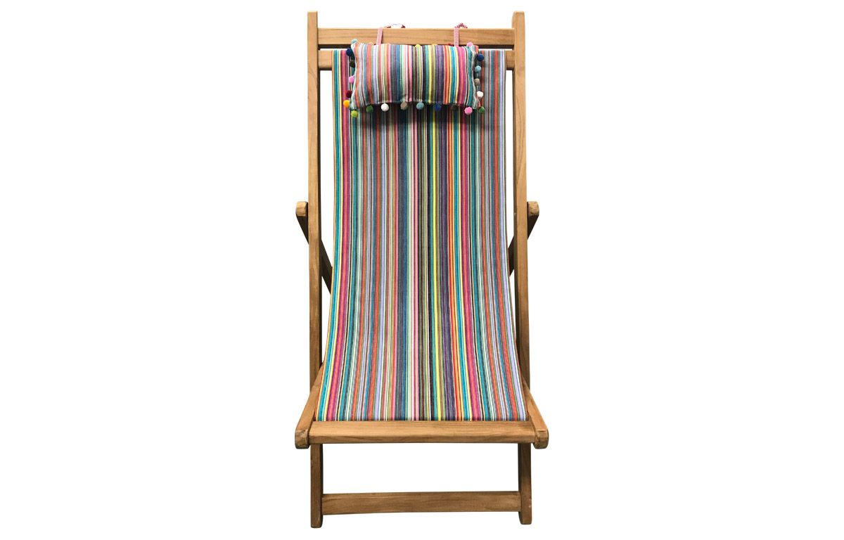 Teak Deckchair with Headrest and Pockets in Rainbow Pinstripes