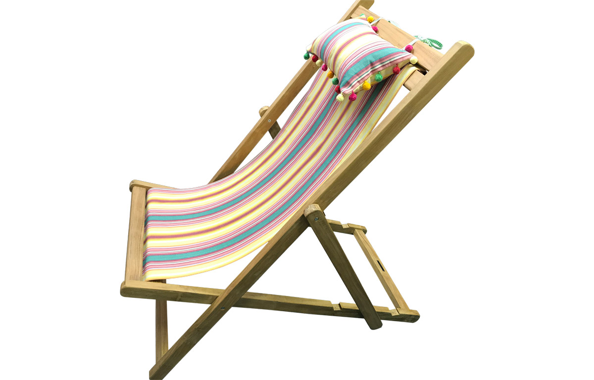 Vintage Yellow Stripe Teak Deckchair with Headrest and Pockets