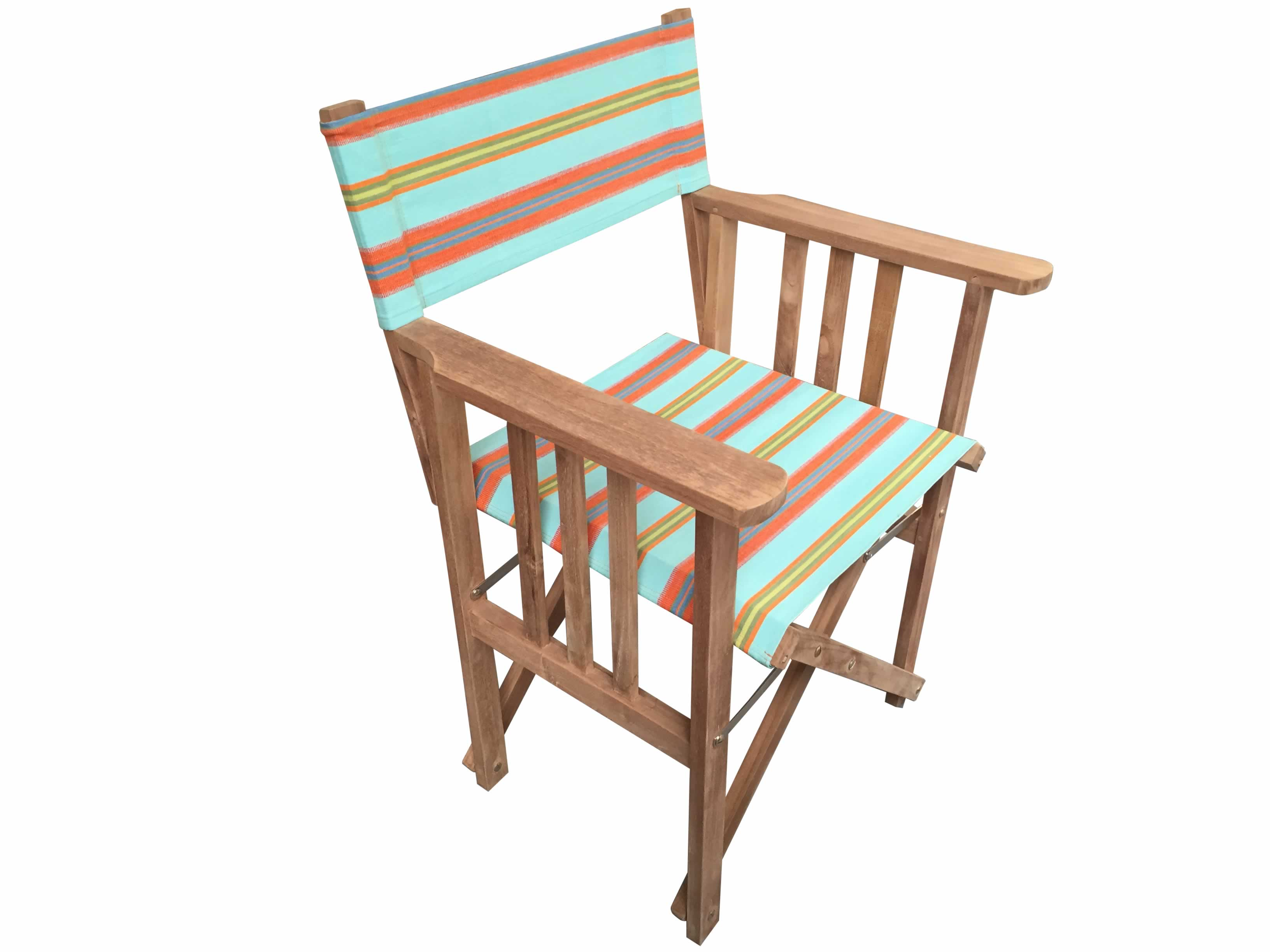 Turquoise Blue and Terracotta Stripe Directors Chair - Petanque
