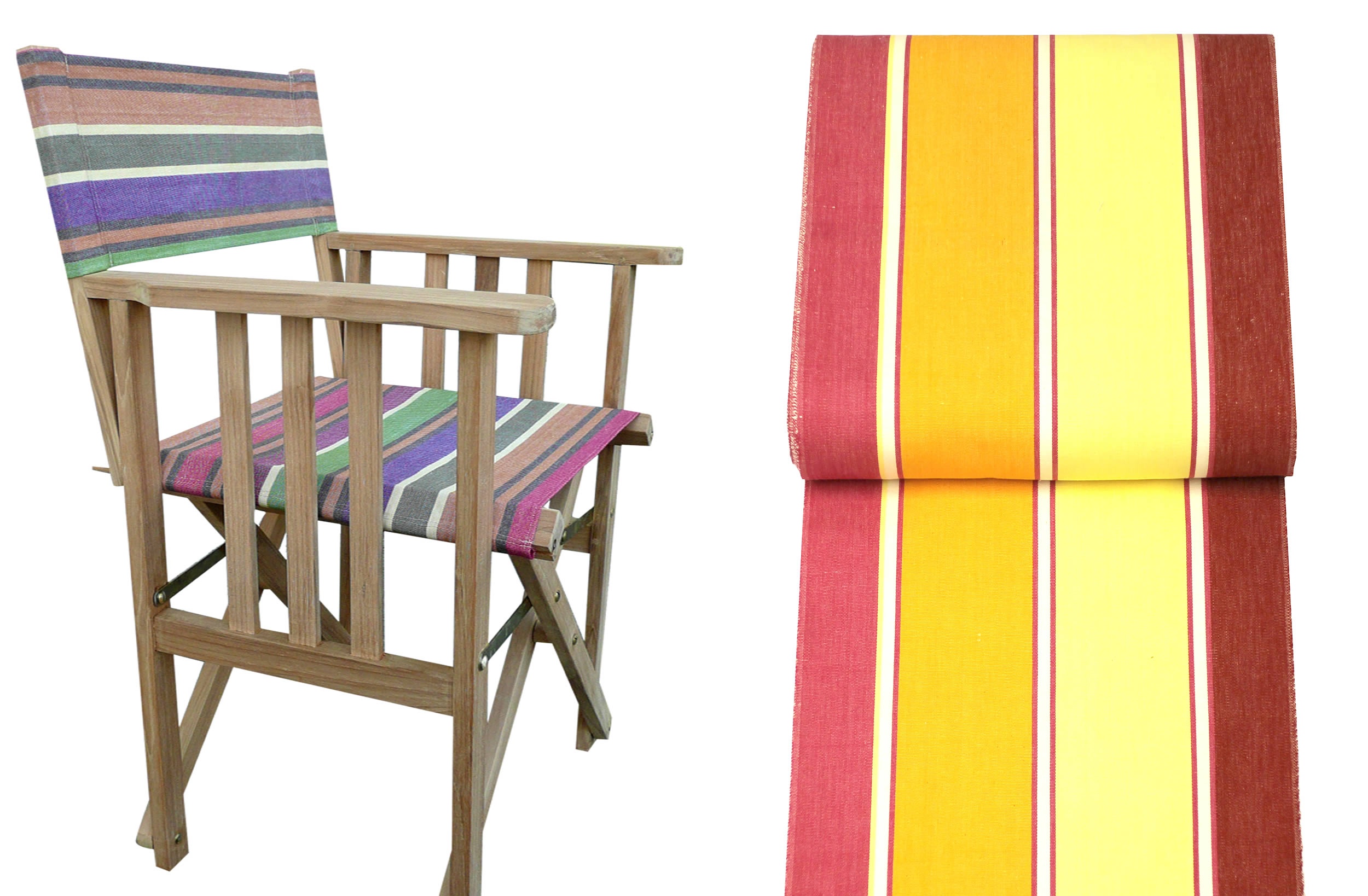Teak Directors Chairs - Acrobatics Stripe