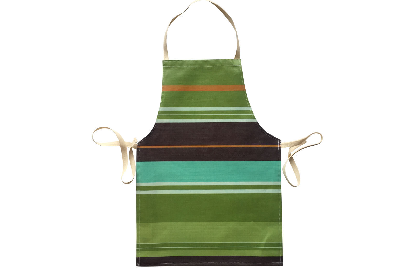Green Striped PVC Oilcloth Aprons for Toddlers