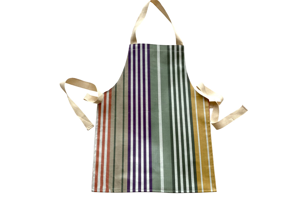 Sage Green, Purple, Mustard Striped PVC Oilcloth Aprons for Toddlers