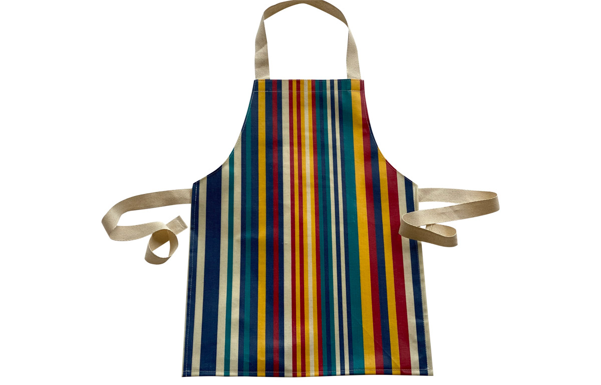 PVC Toddlers Aprons denim blue, cream, turquoise, red and yellow stripes