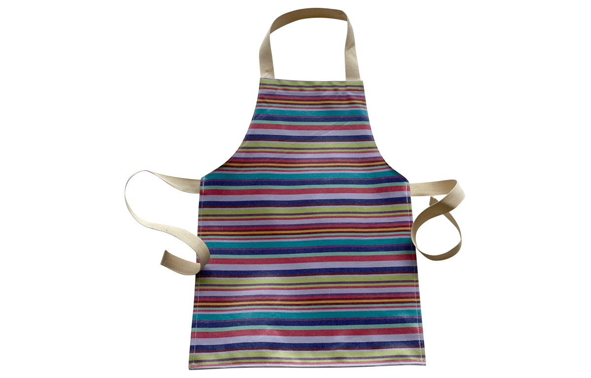Pretty PVC Oilcloth Aprons for Toddlers  - Turquoise, lavender, blue, red, green, terracotta stripes