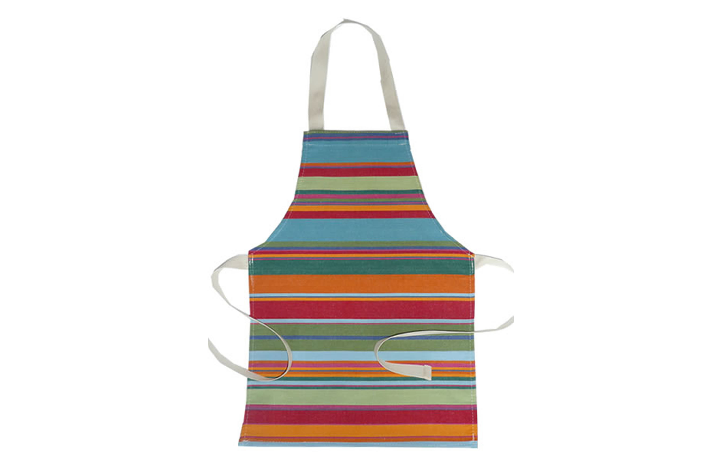 Blue Toddlers Aprons - Striped Aprons For Small Children Blue  Green  Yellow  Stripes