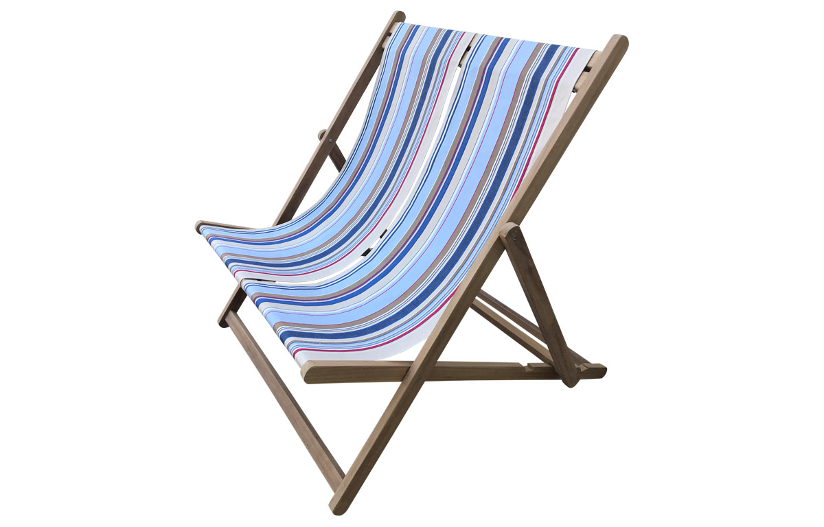 pale blue, light beige, royal blue - Double Deckchairs