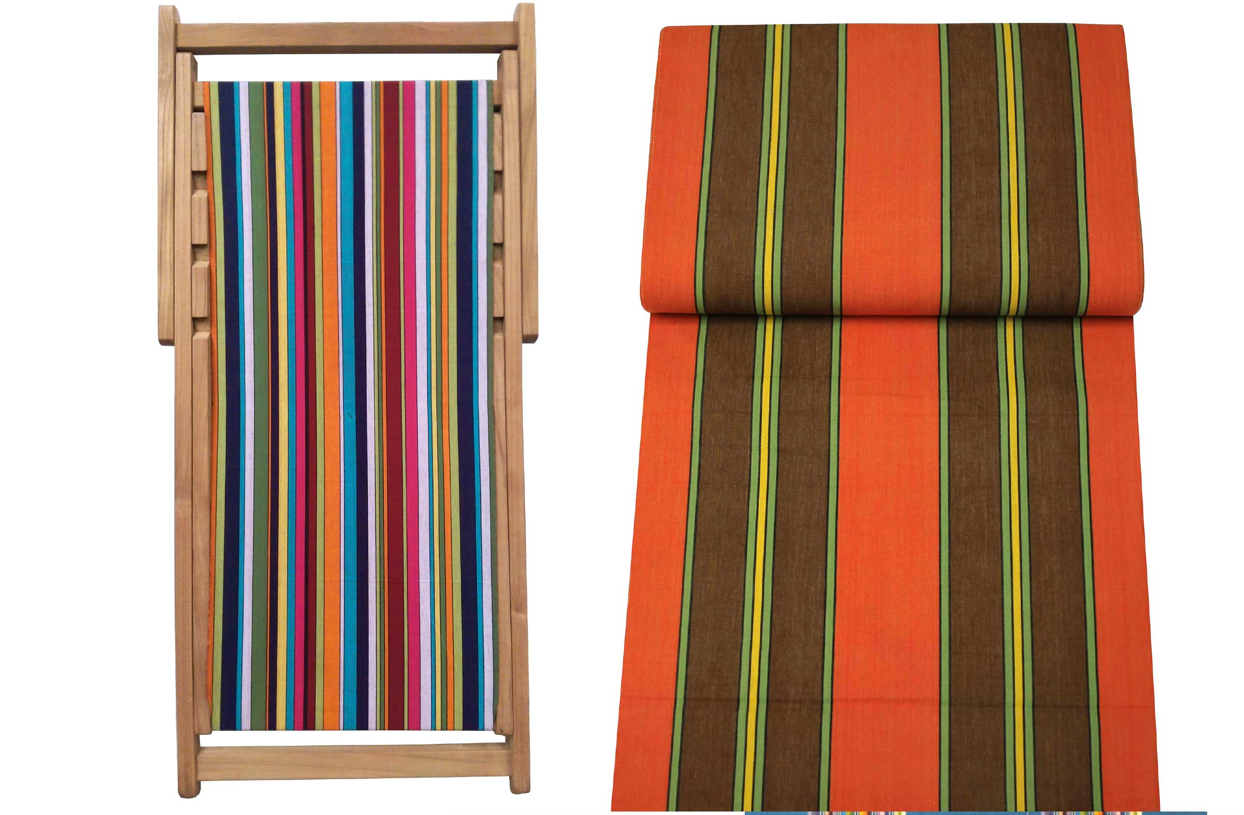 Teak Deck Chairs red, green, brown stripes