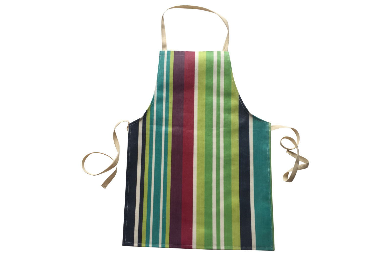 Tugowar Oilcloth Toddler Apron in navy, turquoise, lime stripes