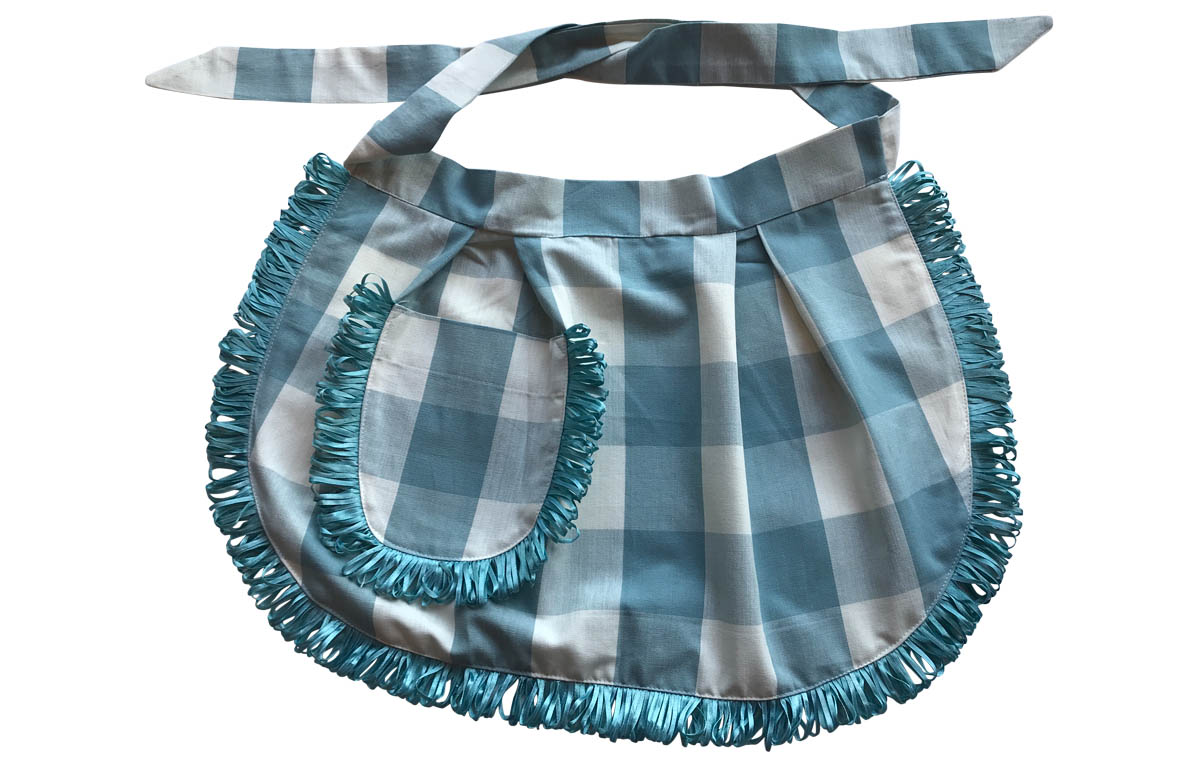 Teal and White Gingham Short Waist Aprons