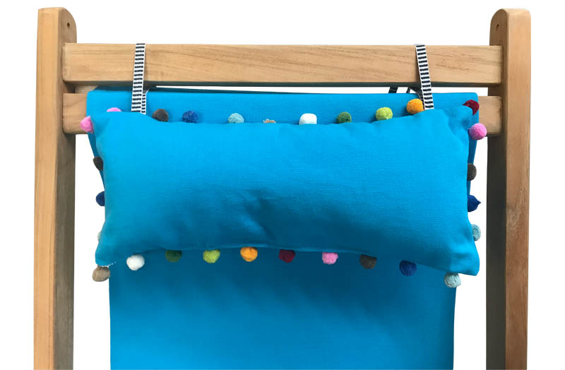 Turquoise Deckchair Headrest Cushions | Tie on Pompom Headrest Pillow
