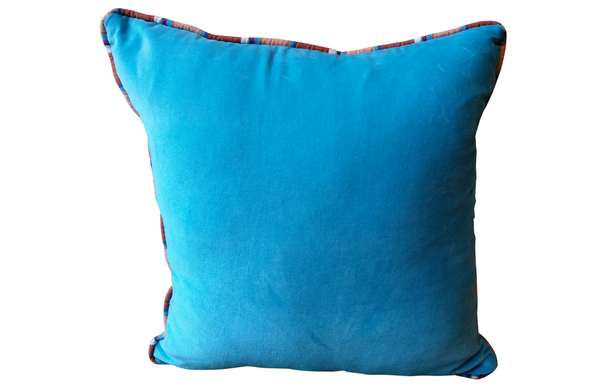 Cushion with Stripe Piping- Turquoise Velvet Home Furnishings with Stripes
