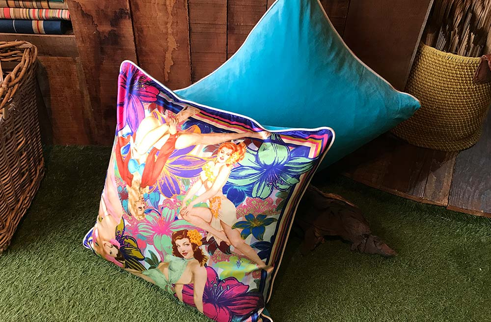 Large Silk and Velvet Cushion with Bold Vintage Pin Up Glamour Girls Design