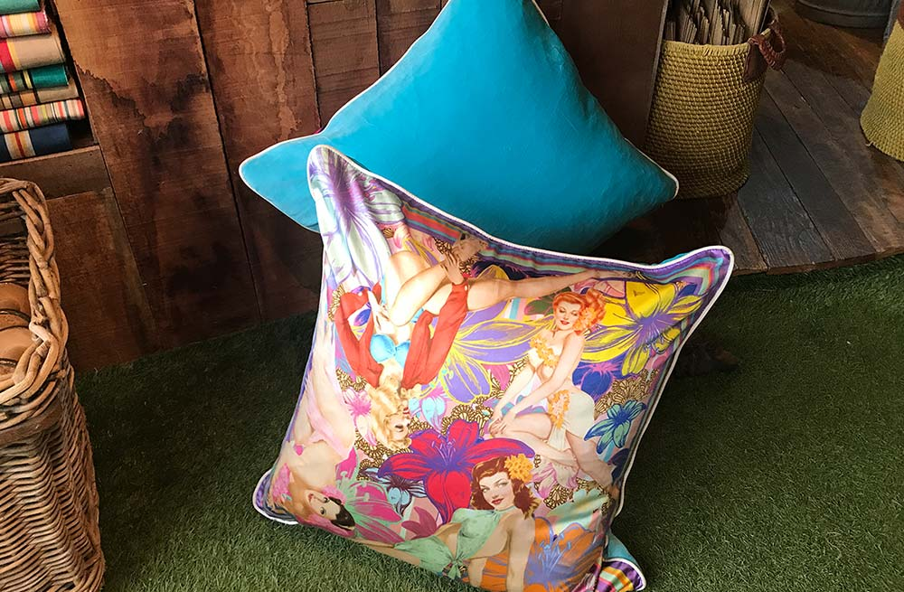 Large Silk and Velvet Cushions Vintage Pin Up Girls Design Lavender Theme
