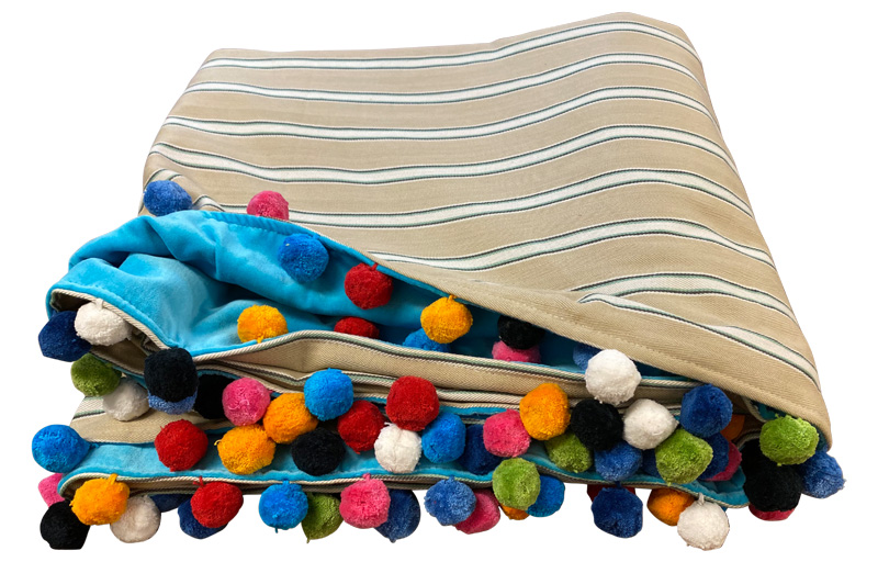 Beige and Blue Stripe Pom Pom Throws - Reversible Turquoise Velvet Throw with Pompoms