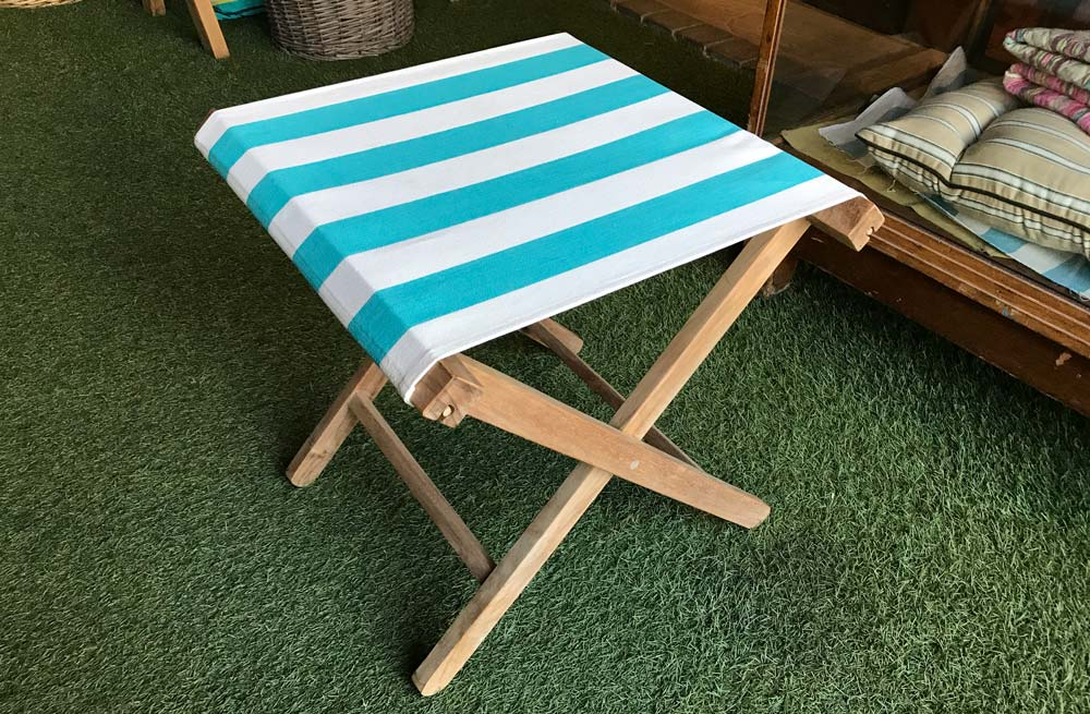 Turquoise and White Stripe Portable Folding Stool