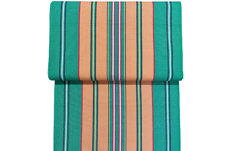 Vintage Green Deckchair Fabric with Terracotta Stripes