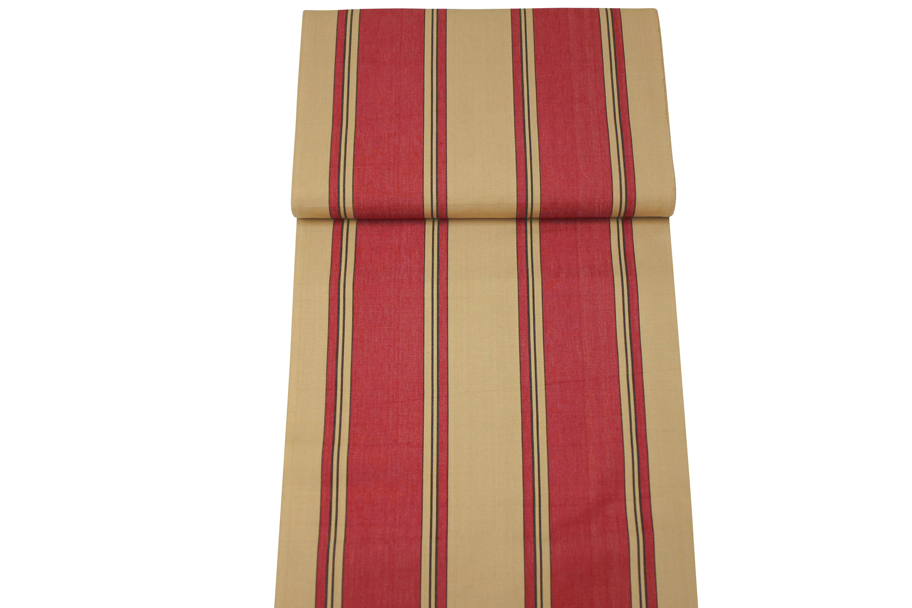 Red And Beige Wide Stripes Lined With Thin Black Deckchair Canvas Vintage Archive Striped Fabrics | Vintage Deckchair Fabric Steeplechase Stripes