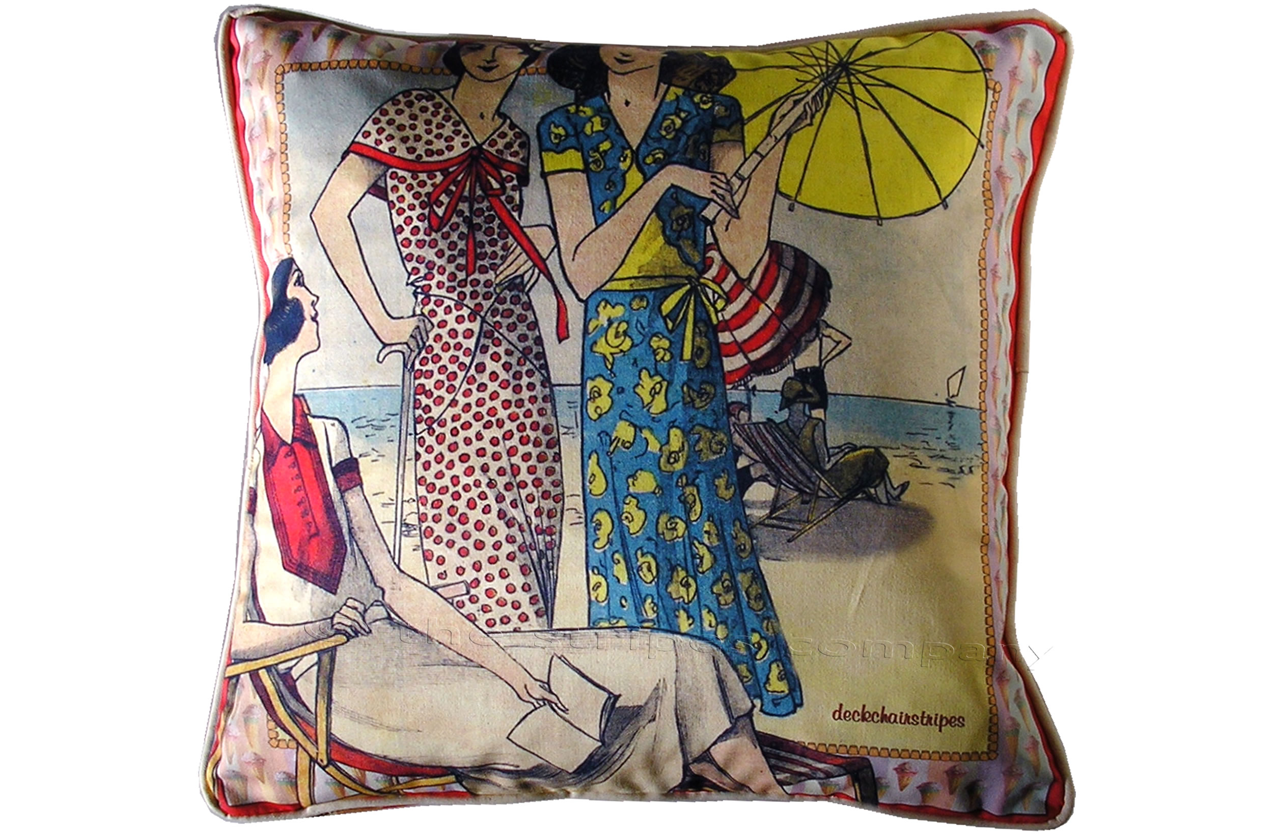 Retro Ladies on the Beach Cushions - Vintage Scarf Cushions
