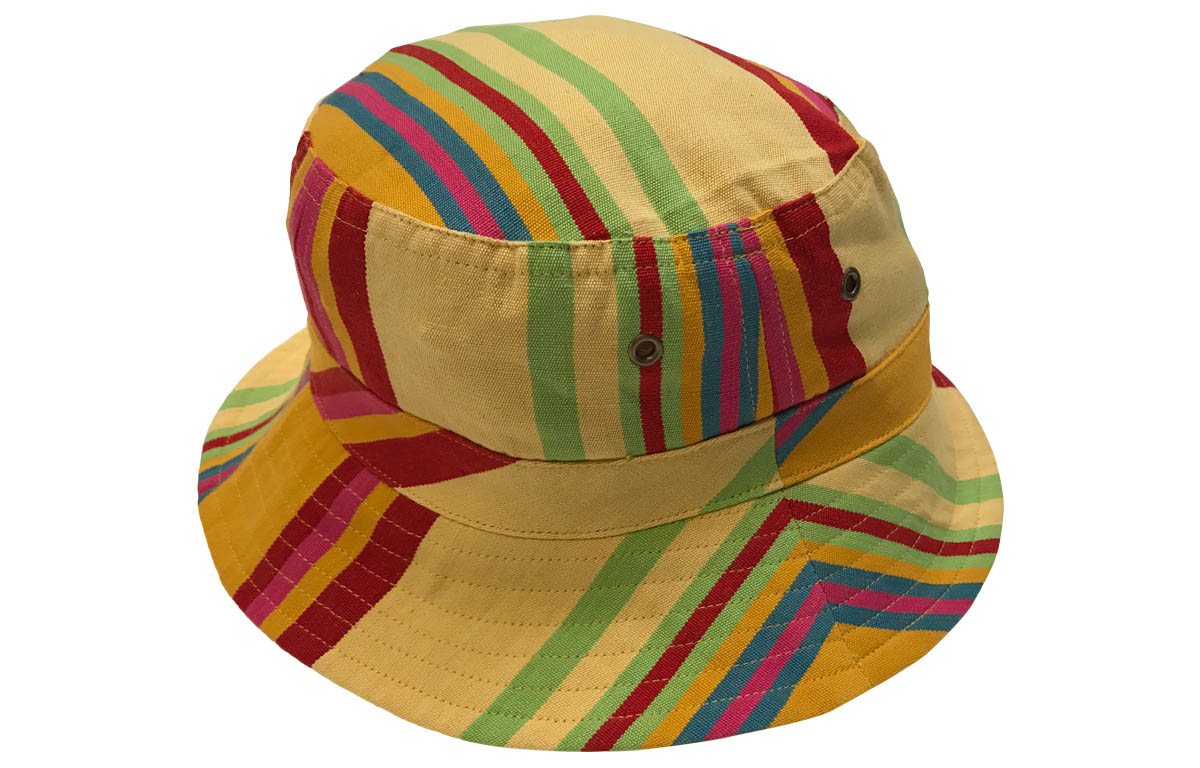 Yellow Stripe Bucket Hats | Sun Hat  pale yellow, gold, pink