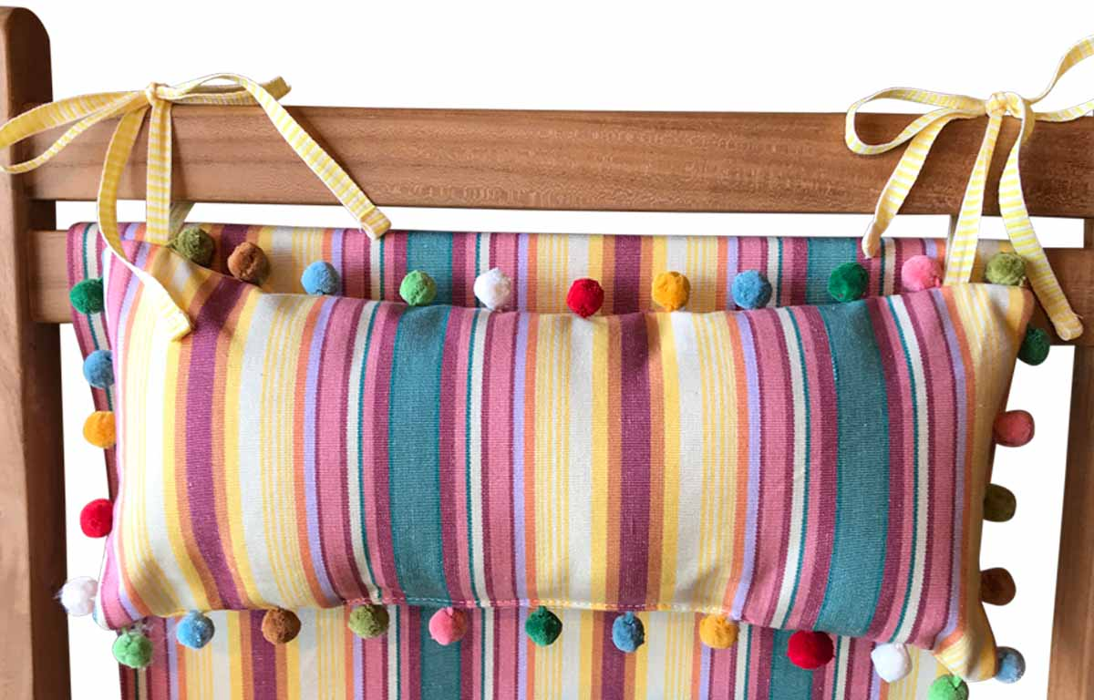 Vintage Yellow, Pink, Green Stripe Tie on Headrest Cushions for Deck Chairs