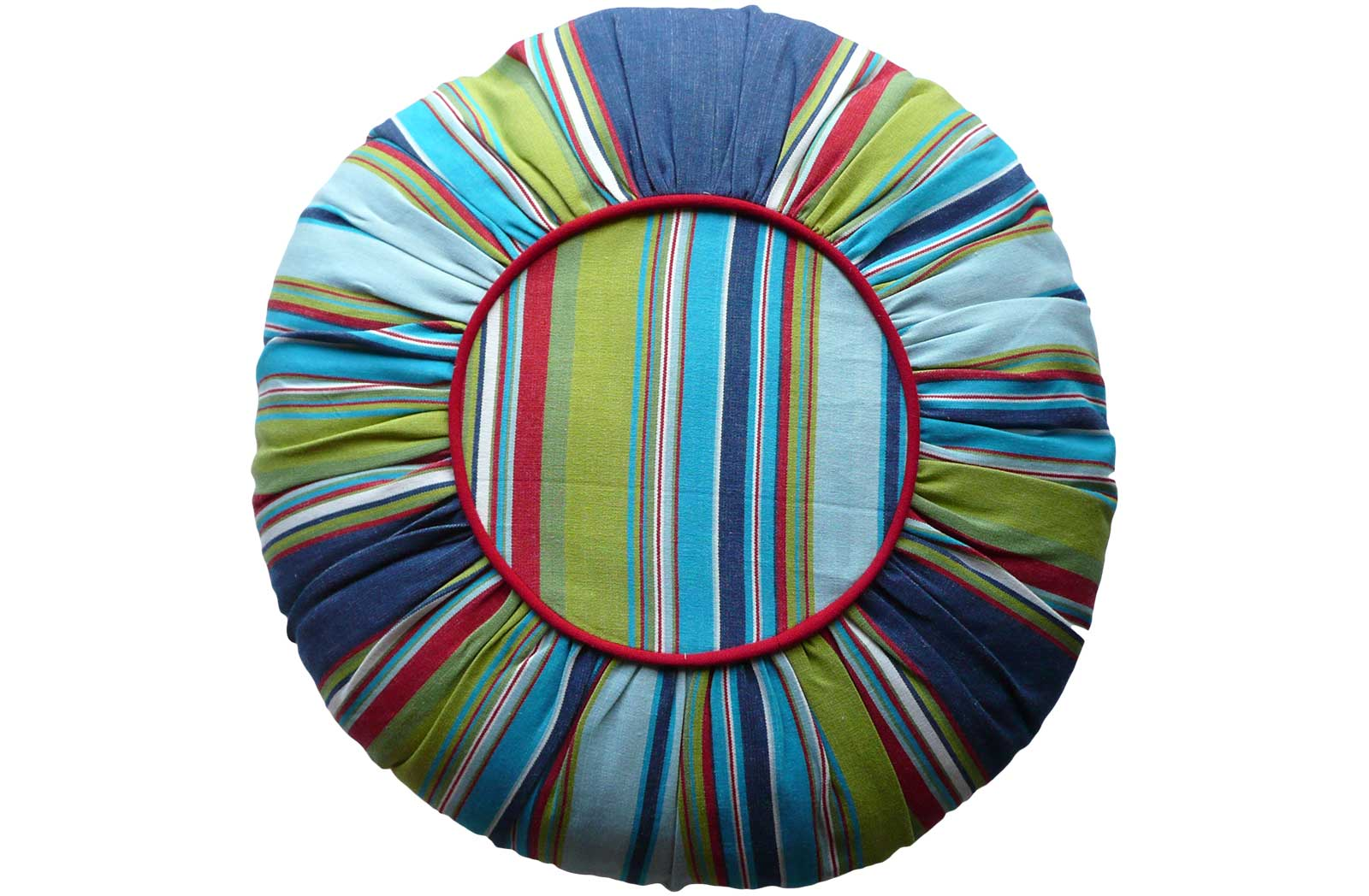 Multi Stripe Round Cushions navy, pale blue, turquoise stripes