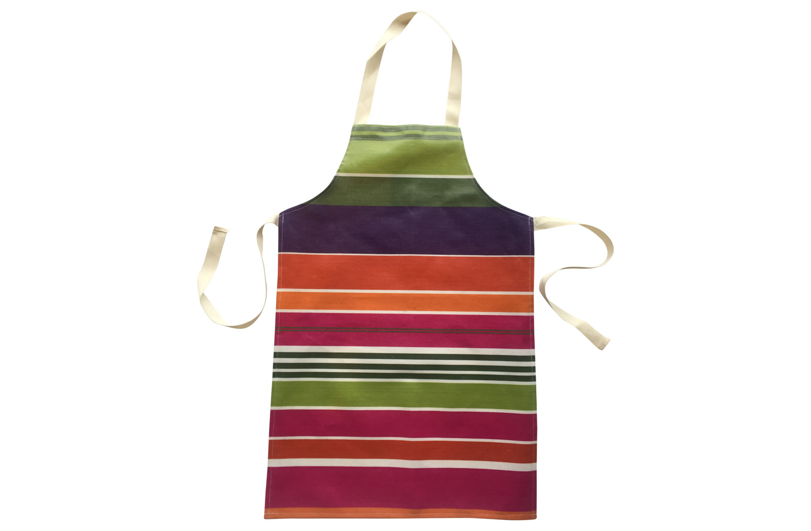 Wipe Clean PVC Apron for Children - bright pink, green, tangerine and purple stripes